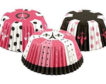 Paris Cupcake Liners (Qty 75),Pink and Black Liners, Black and Pink Liners,Wedding, Party Supplies, Bridal Shower, Wedding Supplies, Eiffel