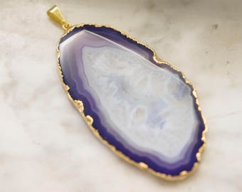 SALEDruzy Agate Slice 65mm by 35mm with Gold Edging and Bail