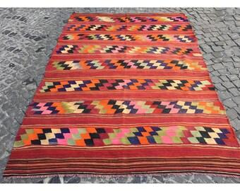 Kilim Rug,240x170cm,7.9x5.6 ,Turkısh Rug,Turkısh Kilim Rug,Handmade Kilim,Kilim,Rug,Turkısh Kilim,Vintage Rug,Rugs,Handmade Kilim,1485