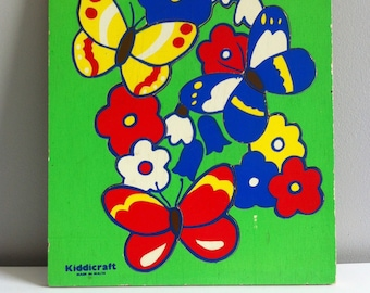Retro Kiddicraft wooden tray puzzle, butterflies and flowers.