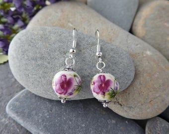 Handmade Ceramic Purple Flower Silver Plated Fish Hook Earrings - Bridesmaid/Birthday/Summer - Gift