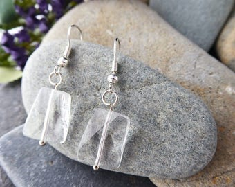 Clear Glass Curved Silver Plated Fish Hook Earrings - Birthday/Christmas/Mother's Day Gift