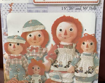 Uncut Raggedy Ann and Andy doll pattern in 3 sizes with clothes