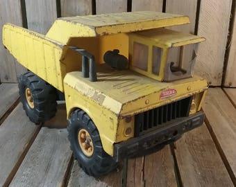 Vintage Metal Tonka Dump Truck, Yellow Tonka Toys Vintage Metal Dump Trunk, Metal Flower Planter, Metal Flower Box, Vintage Toy Truck