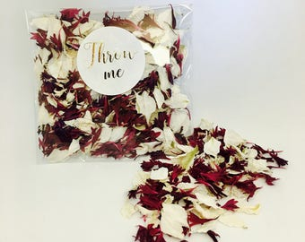 Biodegradable confetti - burgundy red & off white petals - flower petals - metallic gold calligraphy 'throw me' label -  wedding decor