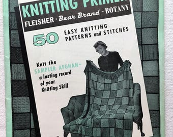 Knitting Primer. 50 Easy Knitting Patterns and Stitches. Sampler Afghan. Vol 8. Vintage  Book. Magazine. Pattern. Instructions. 1950's Knit