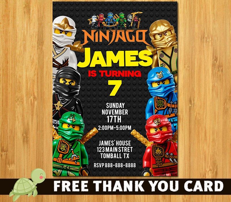 Lego Ninjago Invitation Lego Ninjago invite Lego Ninjago