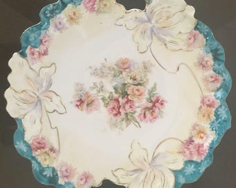 "Antique R S Prussia plate, porcelain,10-1/2"", berry bowl"