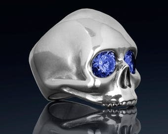 Sterling silver skull ring created sapphires high quality handmade ladies rock n roll jewelry.  Our JANIS ring was inspired by Janis Joplin.