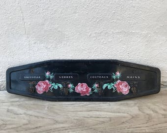 vintage french metal towel cloth rack dishcloth hanger black flowers 1902187