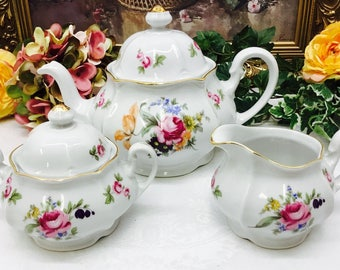 Fine China Teapot and cream and sugar