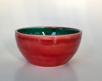Emerald Green and Red Small Bowl