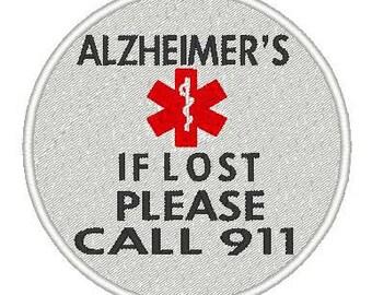 ALZHEIMER'S Alert Patch Embroidery Design, instant download, medical alert, alert, warning, 911, help, patches, awareness, support, disease