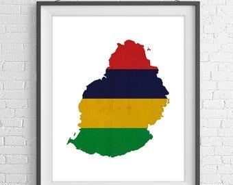 Mauritius Flag Map Print, Mauritius Map, Mauritius Silhouette Art, Housewarming Gift Idea, Vintage Flag Poster, Wall Art, Map of Mauritius