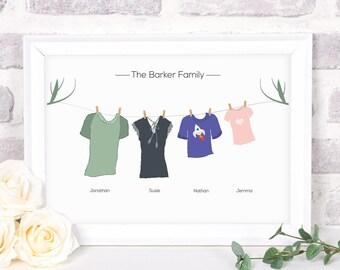 Custom Family Print, Family Gift, Wall Art, Personalised Family Print, Custom Family Gift, Washing Line Print, Personalised Family, Gift