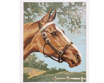 Vintage Original Paint by Number: Small Horse Painting