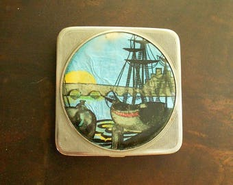 Vintage Early Stratton Compact, Stratnoid Chromed Compact, Foiled Boat Design, 1920s