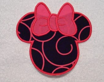 Black and Hot Pink Minnie Mouse Iron on Applique Patch