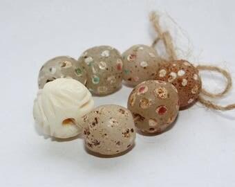 Old Venetian Murano glass beads, eye beads, antique beads, bone beads, vintage beads, used beads, old beads,