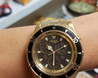 Bulova marine star mens gold tone watch