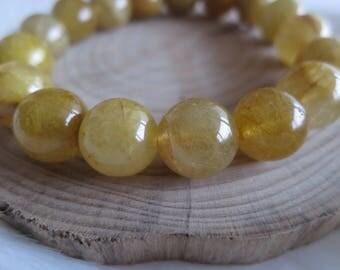 12mm Golden Rutile Bead Stretch Bracelet / Rutilated Quartz Bracelet - ITEM #254