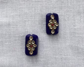 Indian Royal Blue Glass Buttons Beads,Kundan Button Rajasthan Traditional Handmade Button,Sewing Jewellery Flat Back Beads,2.5cm,2 pcs