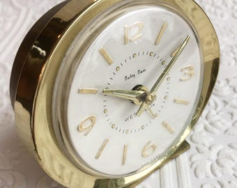 Westclox Baby Ben Windup Alarm Clock / Gold / White / 1960s