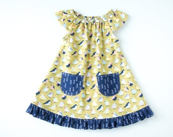 Bird Baby Dress-Bouncing Birdies Baby Girl Dress-Mustard Yellow and Navy Blue-Flutter Sleeve  Ruffled Dress with Pockets-Branches & Birds