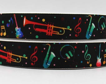 "Trumpets Grosgrain 7/8"" Printed Ribbon, Music Ribbon"