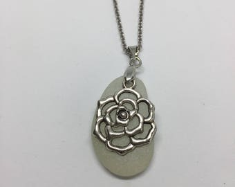 Sea Glass Necklace with Flower Pendant