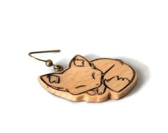 sleeper earrings costume jewelry earrings cute little Fox wooden jewelry woman animal jewelry Christmas gift