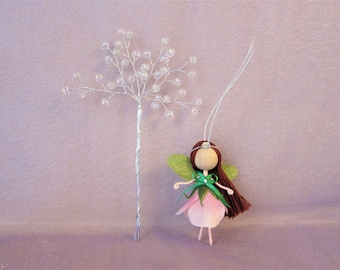 Miniature fairy doll, fairy doll, flower fairy doll, Christmas fairy tree ornament, handmade fairy doll, Christmas fairy, pink flower fairy