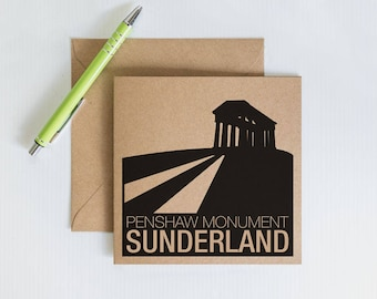 Handmade Retro Greeting Card, Sunderland Penshaw Monument, Novelty card, Kraft Recycled Card, Card for family and friends
