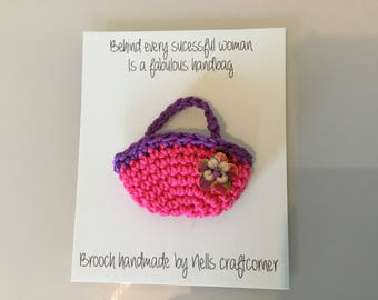 Handmade crochet handbag brooch on giftcard