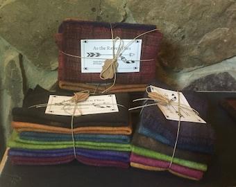 "Handed Dyed Jewel Tone Wool Bundles ~7""x11"""