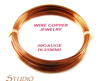 ON SALE!!! 4.5 meters (15 Ft) natural copper wire 30 Gauge, Wire, Wire Wrapping, Copper wire, Copper, Copper findings