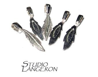 925 Sterling silver large Glue-On Feather Pendant Bail, sterling silver Bail, Bail silver, Bail finding, Glue-On Bail, Silver 925 - 1 piece