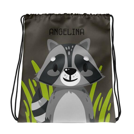 Custom Name Racoon Drawstring bag