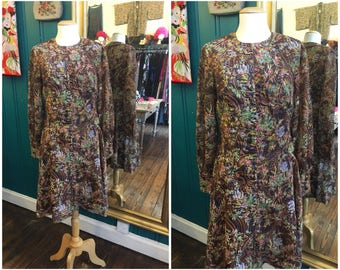 "1970s Brown Floral Dress W30"" Medium UK12"