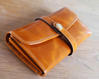 Handmade Real Leather Purse, Brown Leather Purse, Leather Purse, Girlfriend Gift, Wife Gift, Brown Purse, Gifts for Her, Gifts for Mom