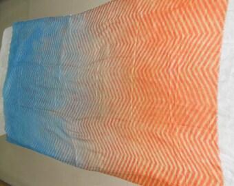 Linen Cotton Modal Digital Printed Zig Zag Ombre Scarf