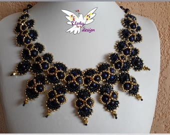 Necklace genuine lapis lazuli and plated gold Indian
