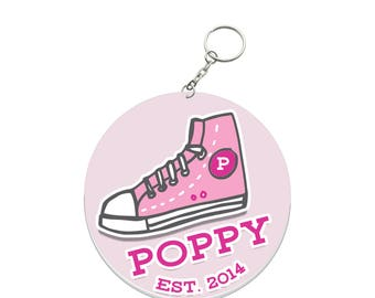 Personalised Round Bag Name Tags for Kids - Sneaker Pink