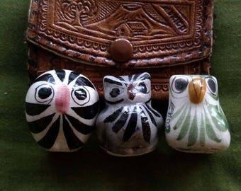 Tiny vintage Mexican pottery birds Tonala Pottery Mexico