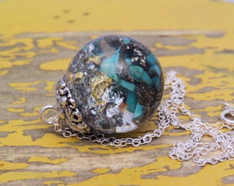 Turquoise sphere necklace, real turquoise and pyrite necklace, Magical sphere necklace, gemstone resin necklace, terrarium necklace, resin