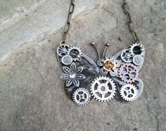 Steampunk butterfly necklace 2
