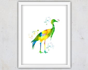 Nursery Bird Print, Bird Art Print, Watercolor Crane Bird Print, Digital Wall Print, Instant Download Printable Art, Colorful Watercolor Art