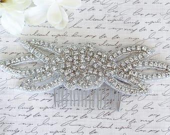 Silver flower Wedding Haircomb, Bridal Headpiece, Rhinestone Hairpiece, Hair Tiara, Hair Jewelry, Bridesmaid, Hair Accessory