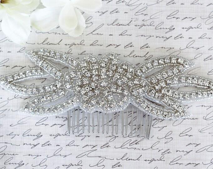 Silver flower Wedding Haircomb, Bridal Headpiece, Rhinestone Hairpiece, Hair Tiara, Hair Jewelry, Bridesmaid, Hair Accessory