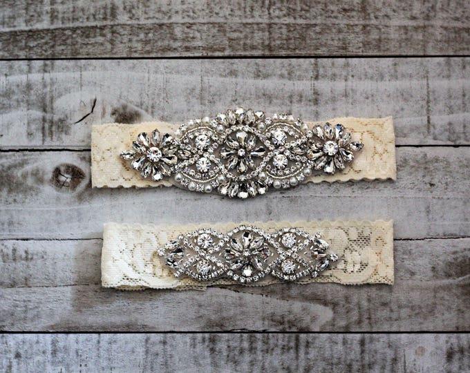 SALE Lace Wedding Garter Set, bridal garter set, vintage rhinestones, pearl and rhinestone garter set